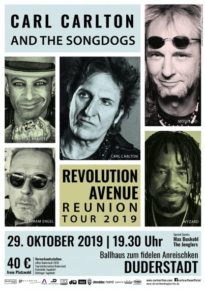 Tour poster Carl Carlton and The Songdogs in Duderstadt October 2019 optimized for web